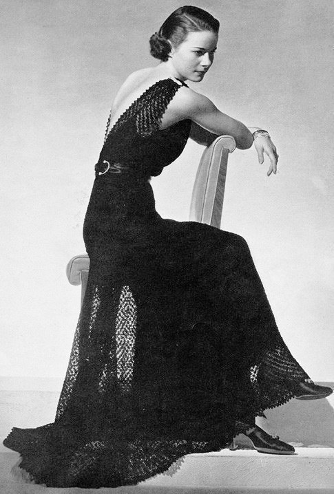 INSTANT PDF 1930s Beautiful Art Deco Crocheted Knitted Evening Gown ...