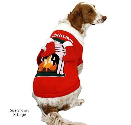 Fireplace Dog Sweater with 3-D Stockings - Christmas Dog Sweater