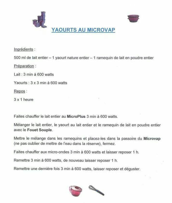 Tupperware yaourt au micro vap desserts au micro ondes for Micro vap violet tupperware