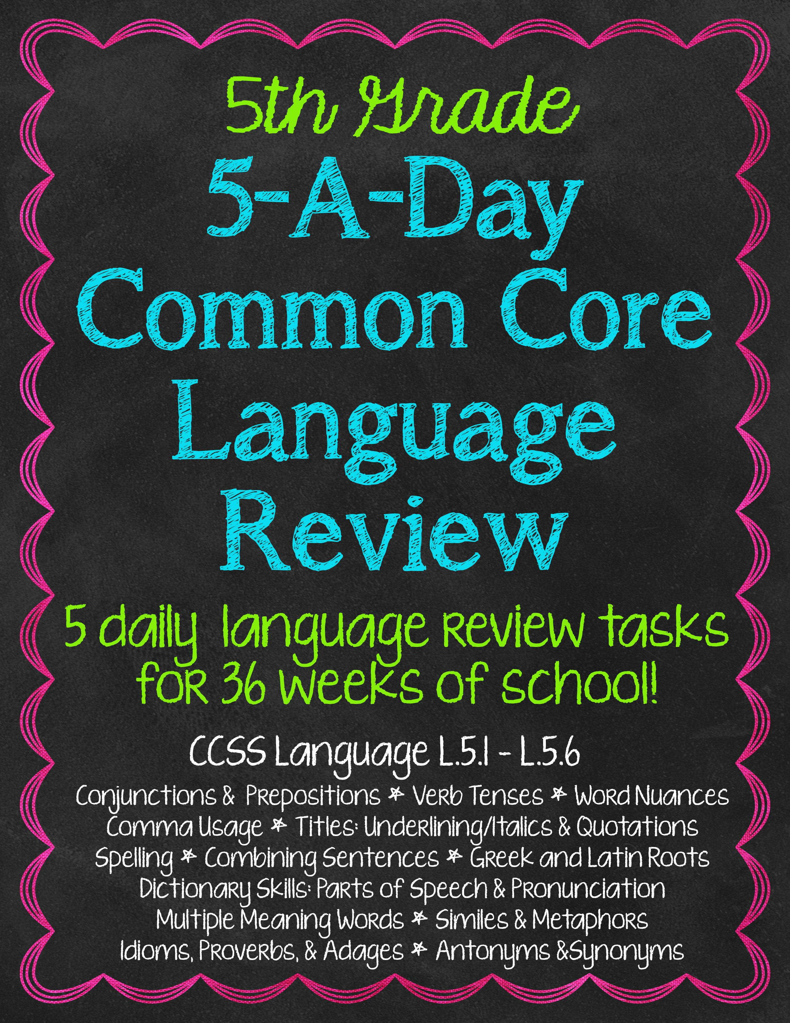 5th Grade Daily Language Spiral Review Morning Work Editable ...