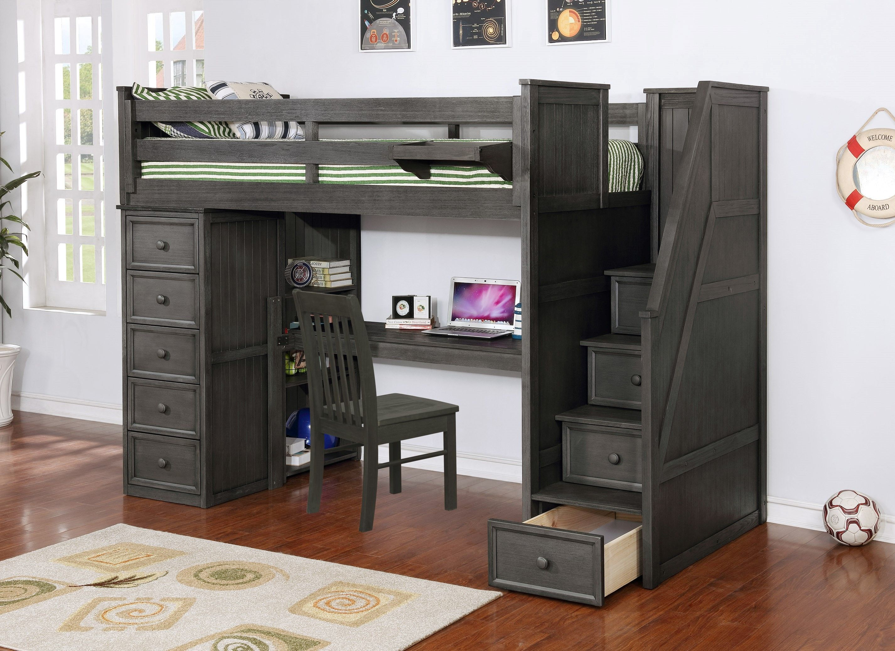 Resort Life Twin Size Loft Bed With Desk In Washed Grey Eola Collection In 2020 Loft Bed Twin Loft Bed Twin Size Loft Bed