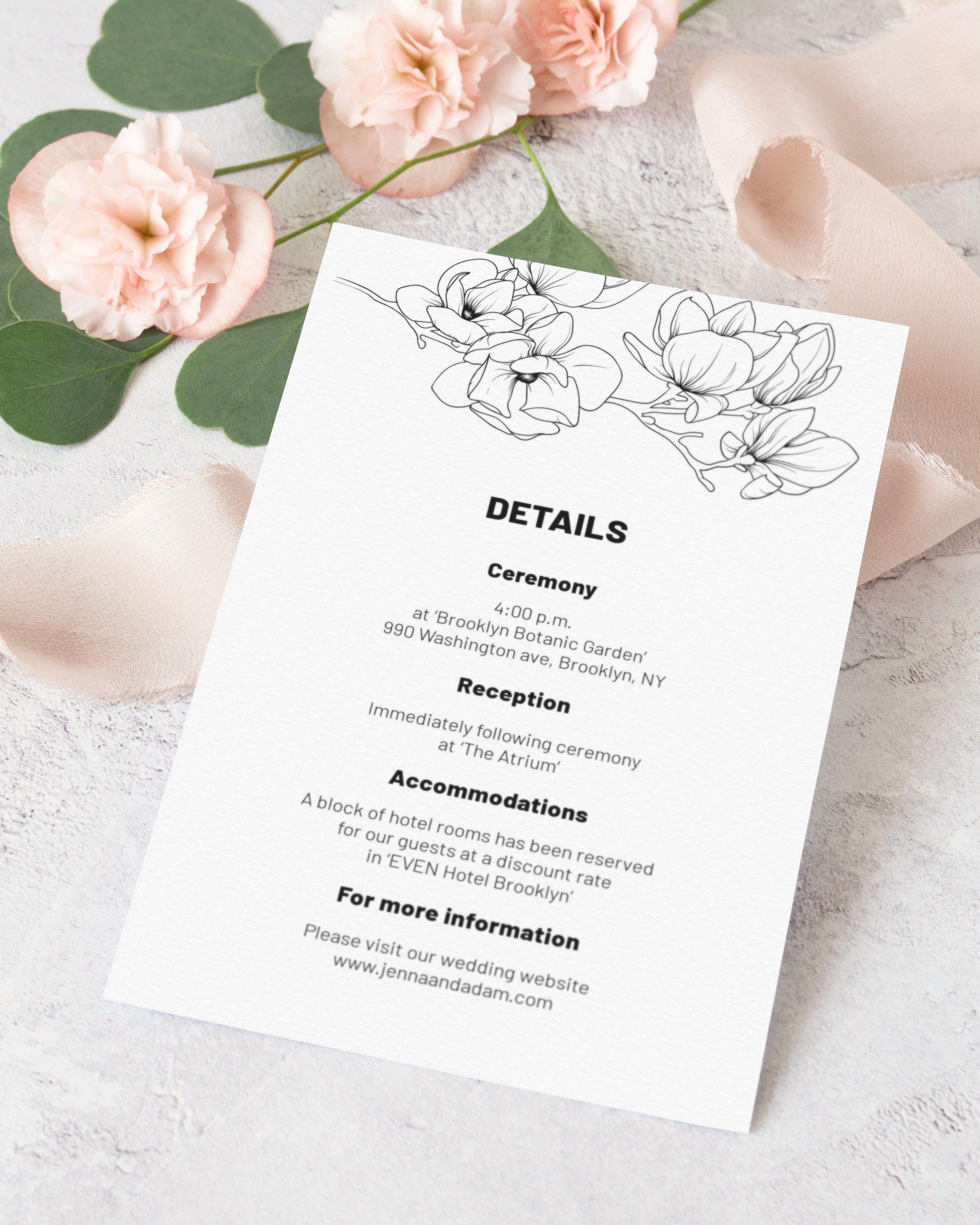 Magnolia Wedding Details Card Template Black And White Floral Wedding Invitation Diy Details Card Spring Wedding Invitation Insert Mg18 Wedding Details Card Floral Wedding Invitations Diy Spring Wedding Invitations