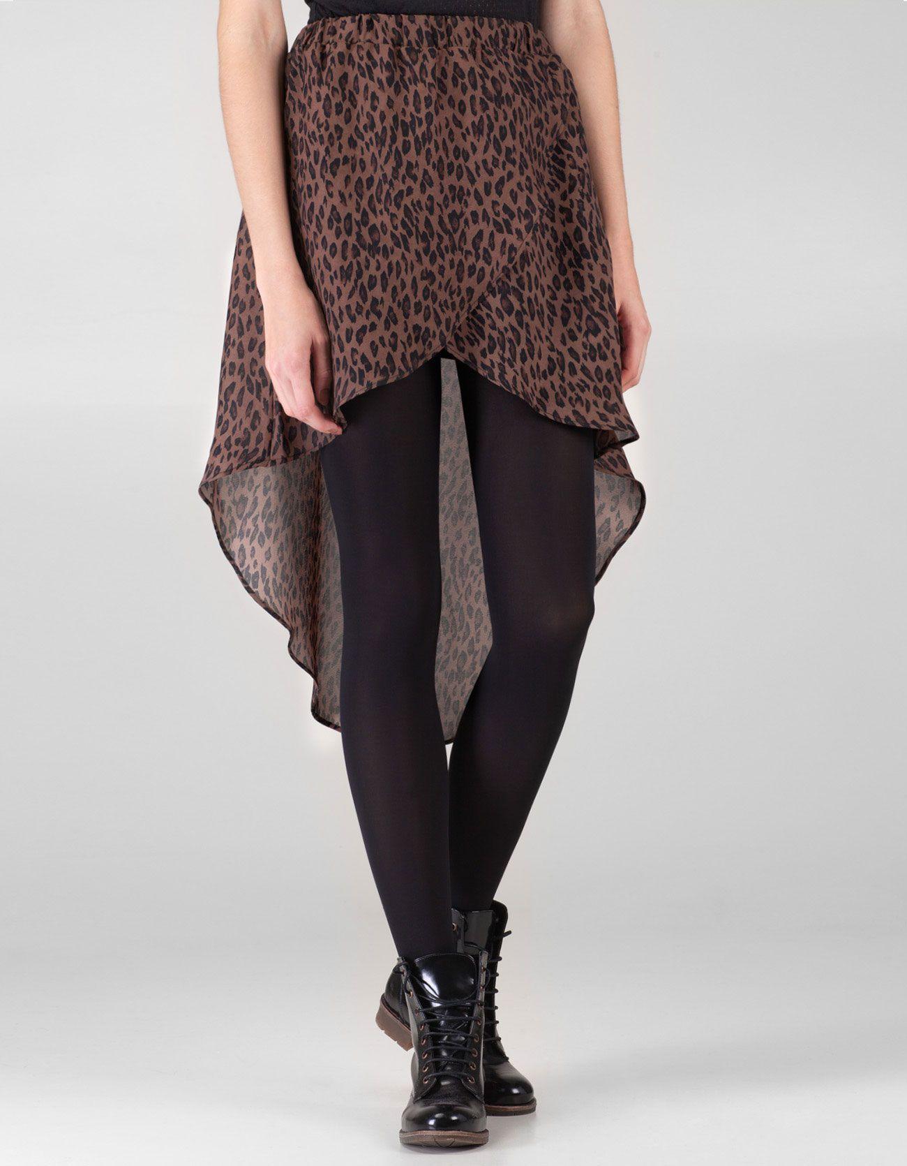 Falda asimétrica print leopardo
