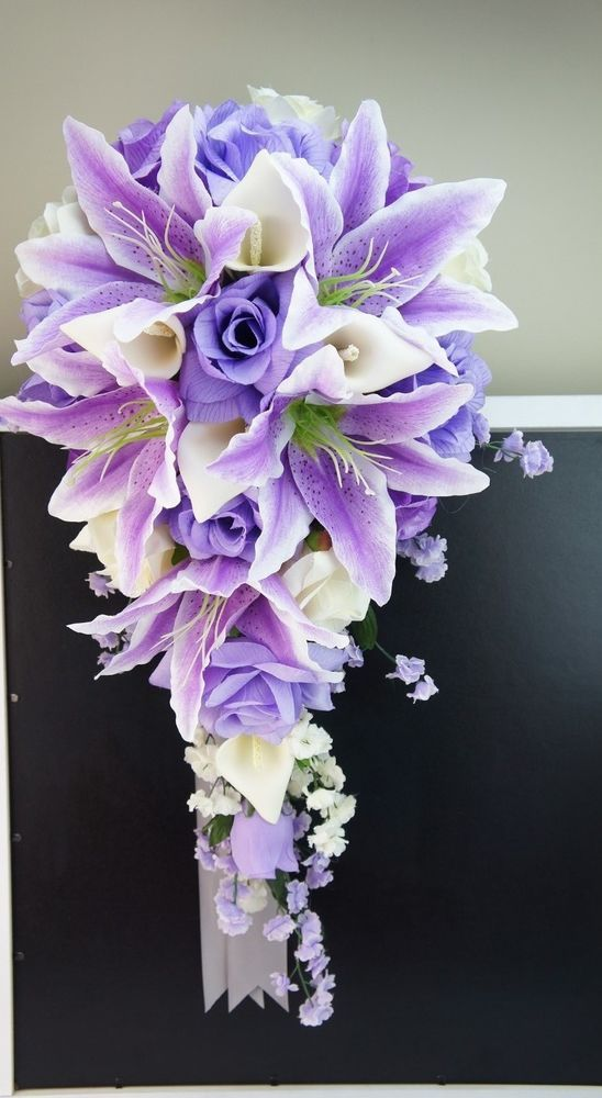 Cascade Bridal bouquet - Shades of Lavender and Ivory - Artificial ...