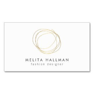 Minimal And Modern Gold Designer Scribble Logo II Double Sided Standard Business Cards Pack