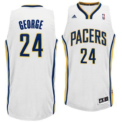 0880bbe09 ... Indiana Pacers Paul George 24 Adidas Swingman NBA Jersey (White) ...