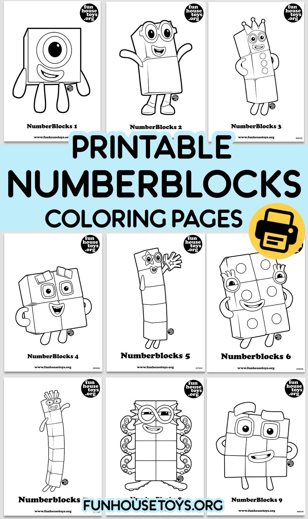 Numberblocks Coloring Pages For Kids Fun Printables For Kids Math Color Sheets Learning Worksheets
