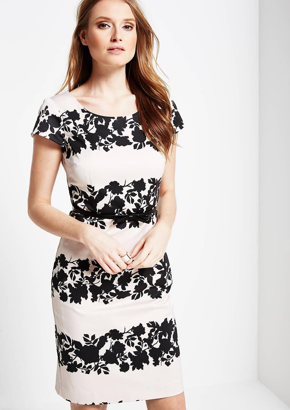 Schönes Abendkleid mit Floralprint in Two-Tone Optik  Short