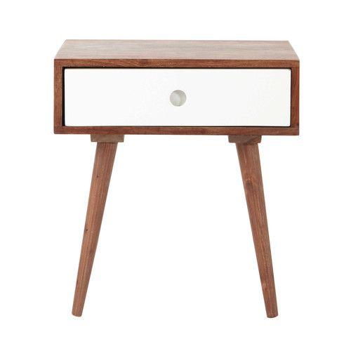 table de chevet avec tiroir vintage en bois de sheesham massif l