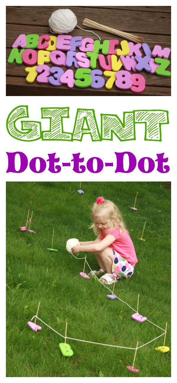So fun! A Giant Dot-to-Dot in your backyard! Great for fine motor development and alphabet/number sequence! #911craftsfortoddlers