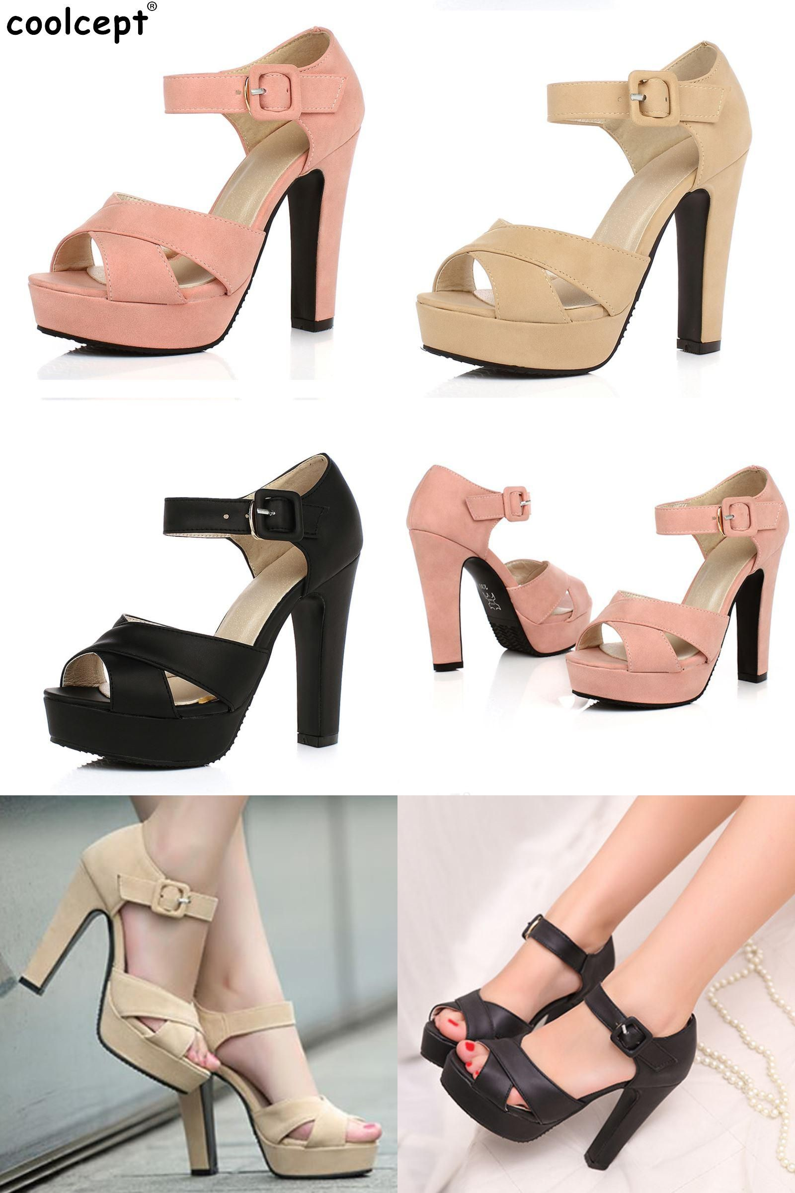 d211eca12391  Visit to Buy  Peep Toe Ankle Strap Thick High Heel Sandals Platform Ladies  Shoes