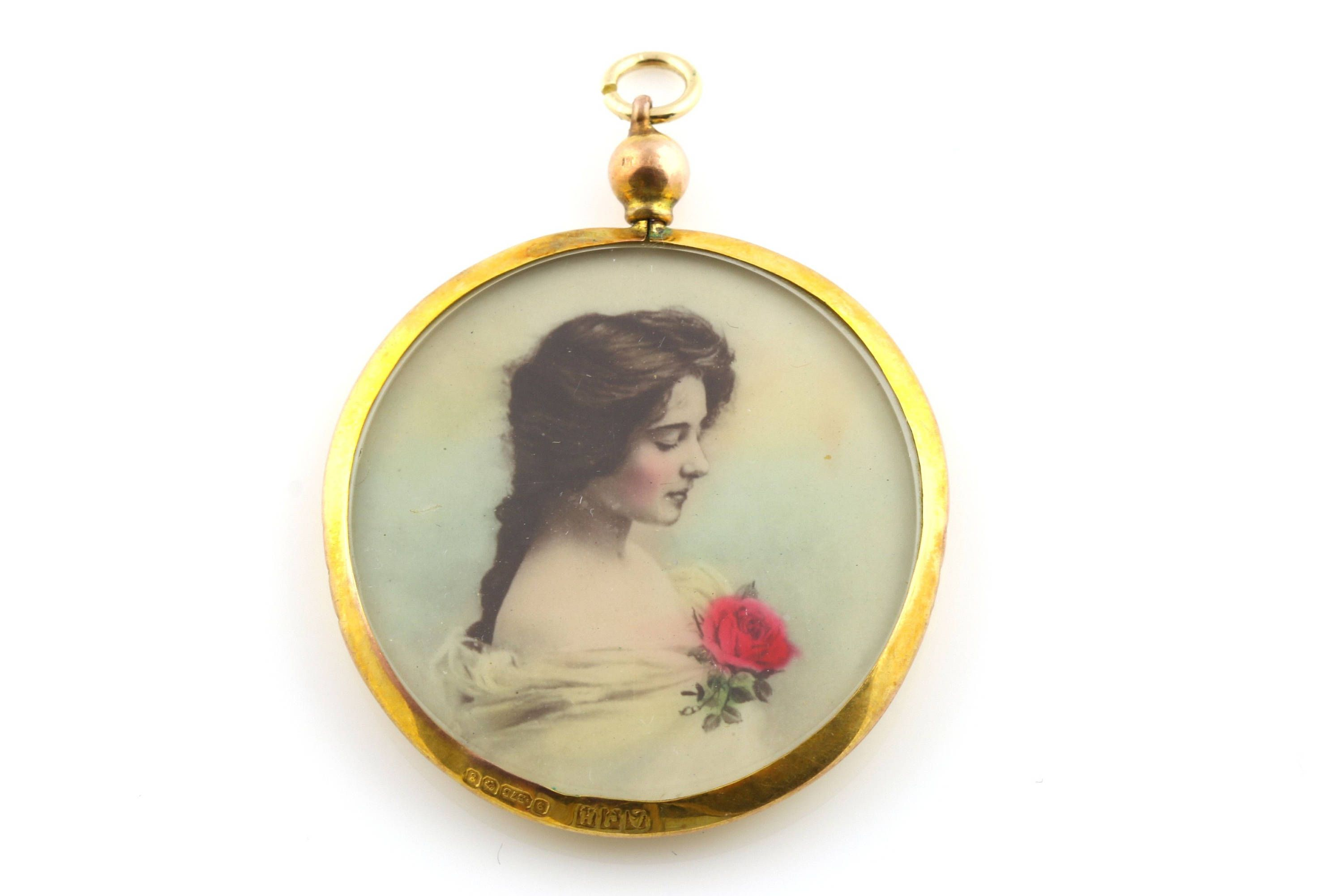 rose arnold inspired botanical floral circular personalised beautiful and jewellery handmade gift her pendant birth necklace for flower photo locket lockets gillian june shop