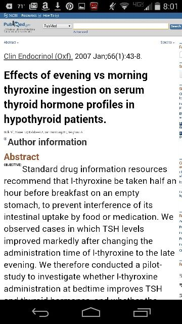 Effects Of Evening Vs Morning Thyroxine Ingestion On Serum Thyroid
