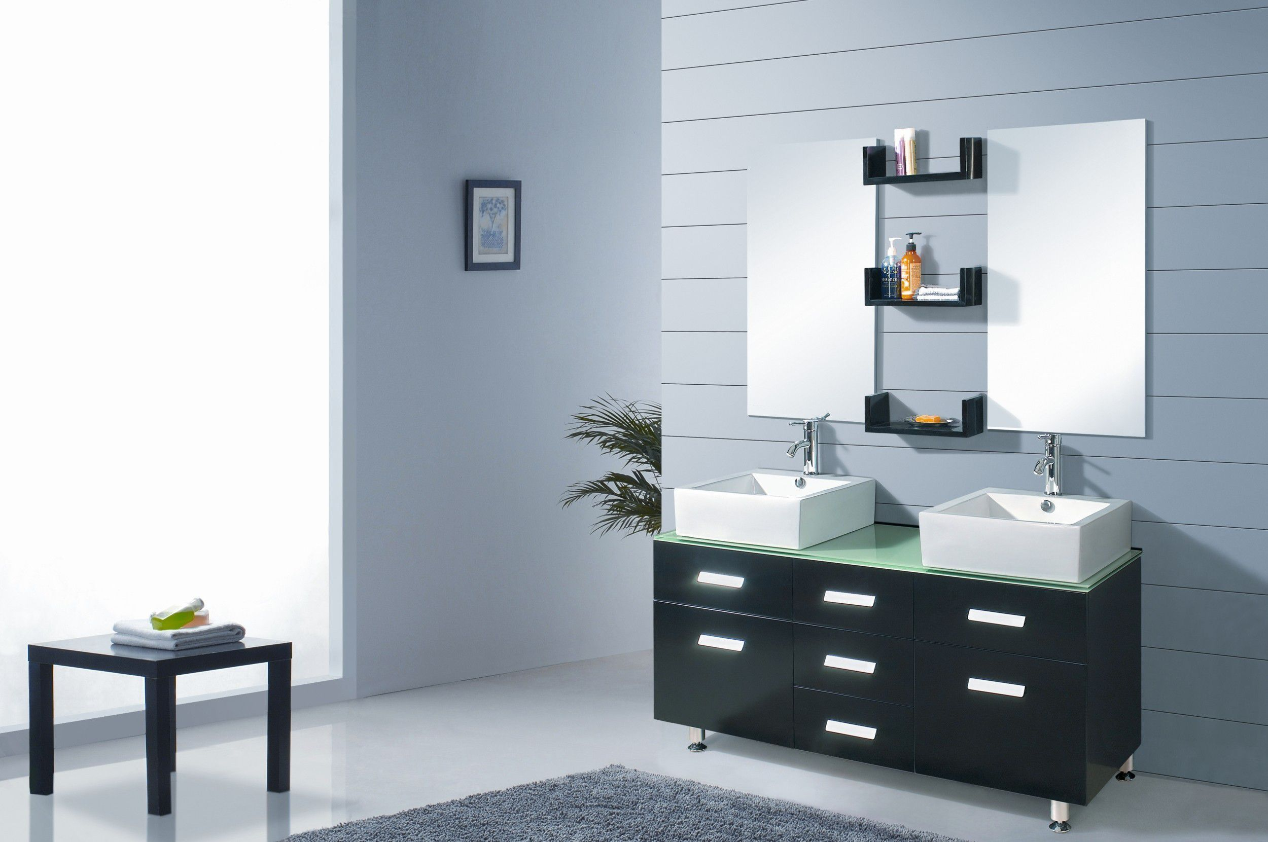 Modern Double Vessel Sink Bathroom Vanity with Mirrors Shelfs ...