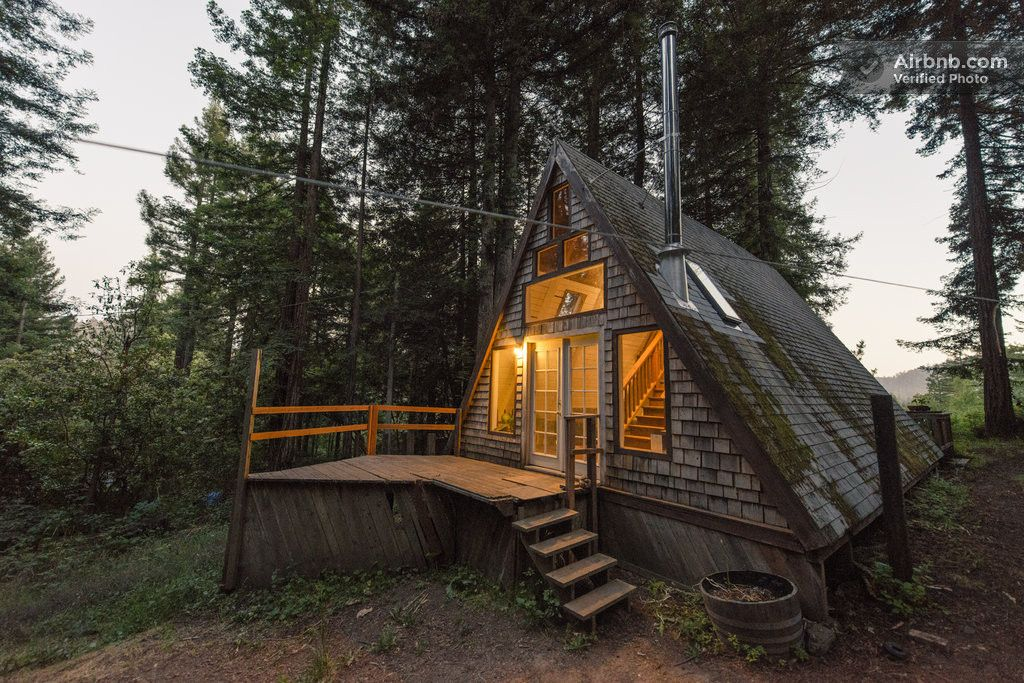 House in Cazadero, United States. This little a-frame cabin would make a productive retreat for an artist, writer, or musician, or a romantic getaway. Surrounded by redwoods on a private road in Cazadero, my cabin is an hour and forty-five minutes north of San Francisco: a roughly...