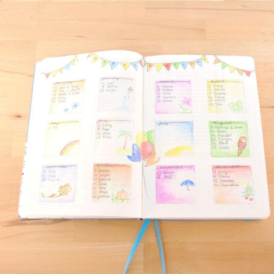 Geburtstagsliste geburtstagsliste - ideen und inspiration fürs bullet journal
