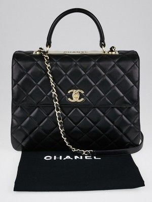 Chanel Black Quilted Lambskin Leather Trendy Cc Flap Bag Used Chanel Bags Bags Flap Bag