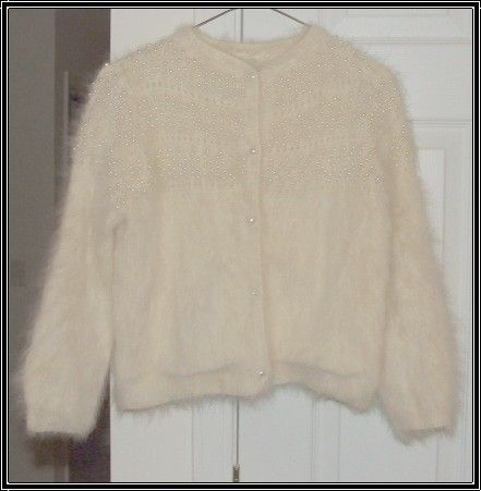 VINTAGE HAND BEADED WHITE ANGORA CARDIGAN SWEATER 1940'S- 50'S ...