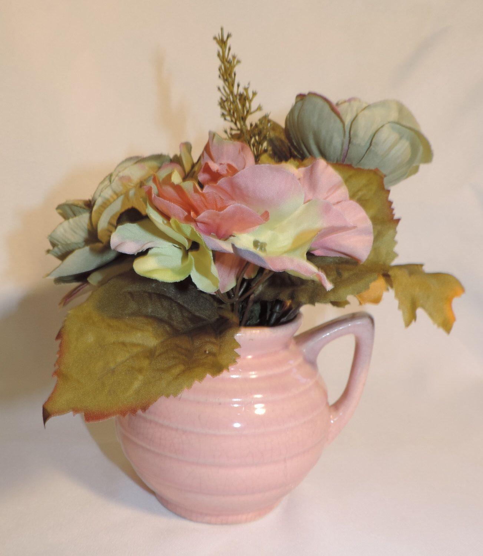 Vintage Usa Pink Pottery Teapot Flower Arrangement Table Centerpiece