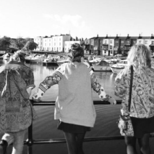 Friends looking over the docks, Bristol