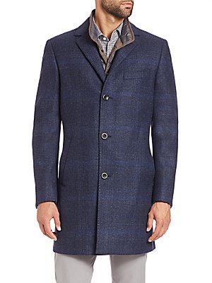Saks Fifth Avenue Collection Plaid Wool Overcoat
