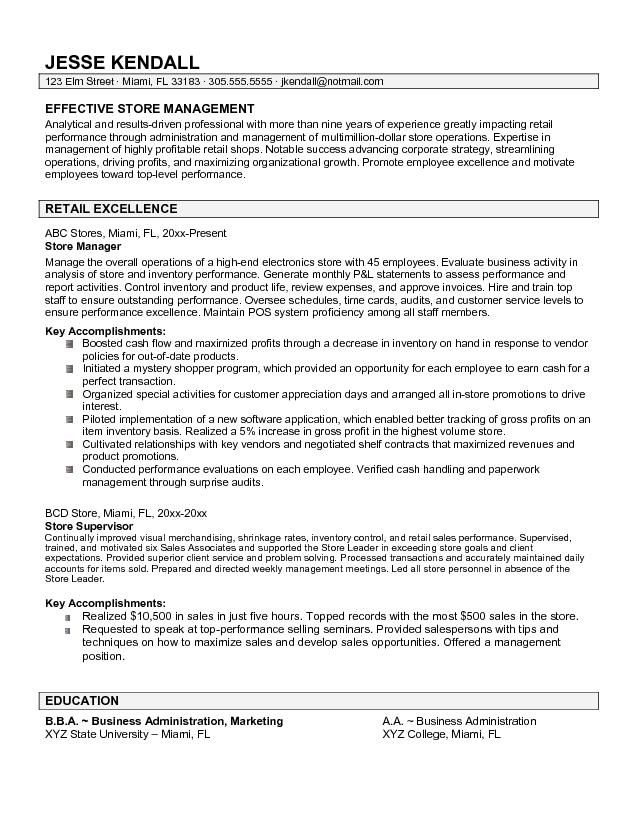 store manager resume samples sample resumes retail management - resume for manager position