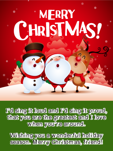 Caroling Buddies Merry Christmas Card For Friends Birthday Greeting Cards By Davia Merry Christmas Card Merry Christmas Birthday Greeting Cards