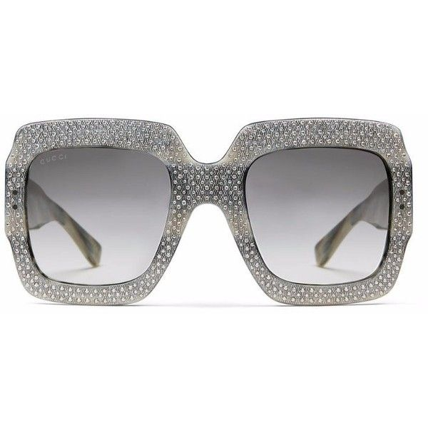 08a41060fe Gucci Oversized Rhinestone Sunglasses in Greyl Acetate (450 BHD) ❤ liked on Polyvore  featuring