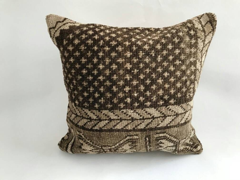 Handmade Decorative Turkish Vintage Wool Kilim Pillows Cover