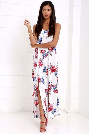 2043488197 Take a twirl in the Somedays Lovin  True Romance Ivory Floral Print Maxi  Dress and everyone will have heart-eyes for you! Soft woven viscose with a  blue