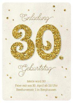 Vintage U0026 Hip: Einladung Zum 30. Geburtstag Mit Großer Glitter 30 Und  Konfetti In Gold Look. #partyeinladung #30geburtstag #glitzer #glitter  #einlau2026