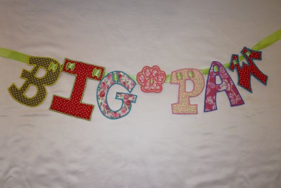 Embroidered Letter Banner bunting name by remdesignscustomwear, £3.00