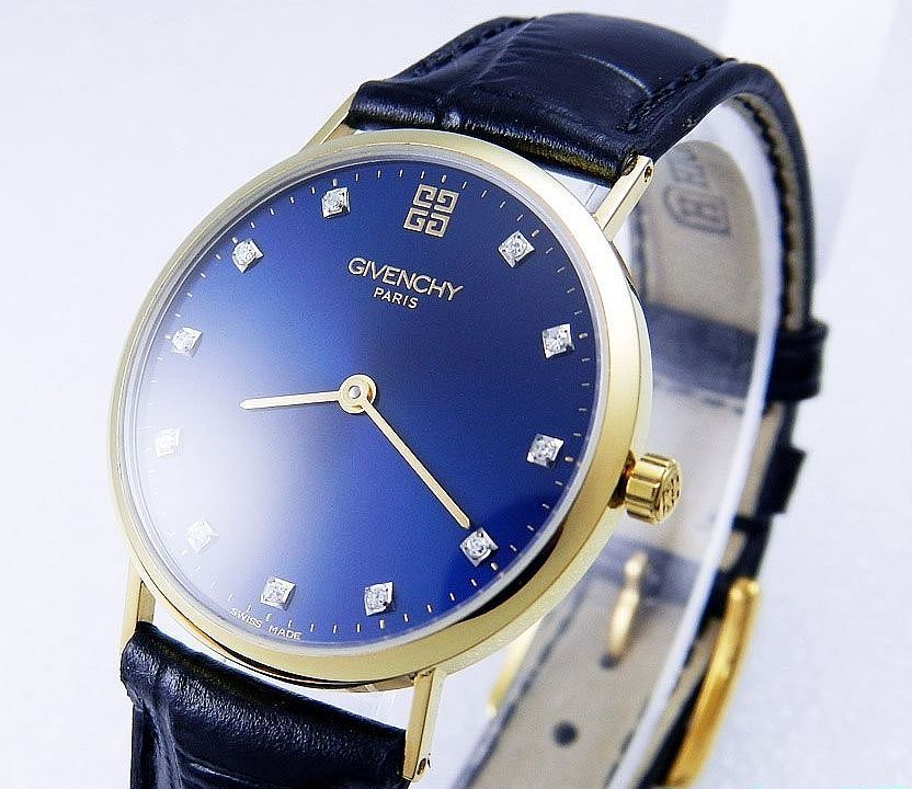 Givenchy watch paris 18k solid gold diamond blue dial quartz men 39 s pre owned designer for Givenchy watches