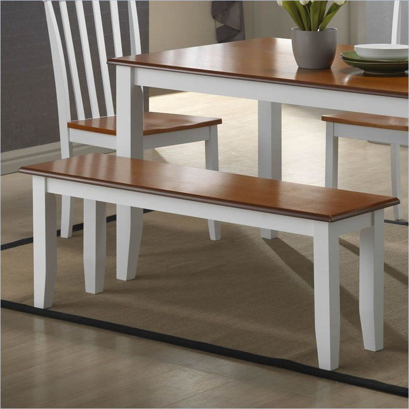 Bloomington Two-Tone White & Honey Oak Dining Accent Bench ...