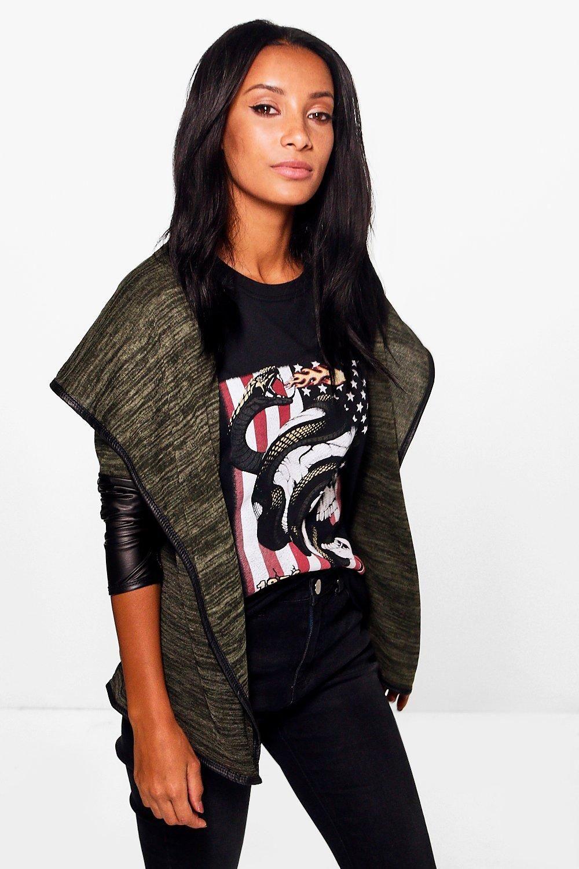 Leather Look Sleeve Waterfall Cardigan - khaki | FashionToDieFor ...