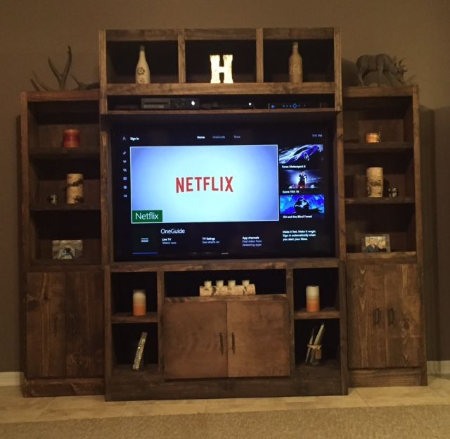 Rustic entertainment center do it yourself home projects from rustic entertainment center do it yourself home projects from ana white solutioingenieria Image collections