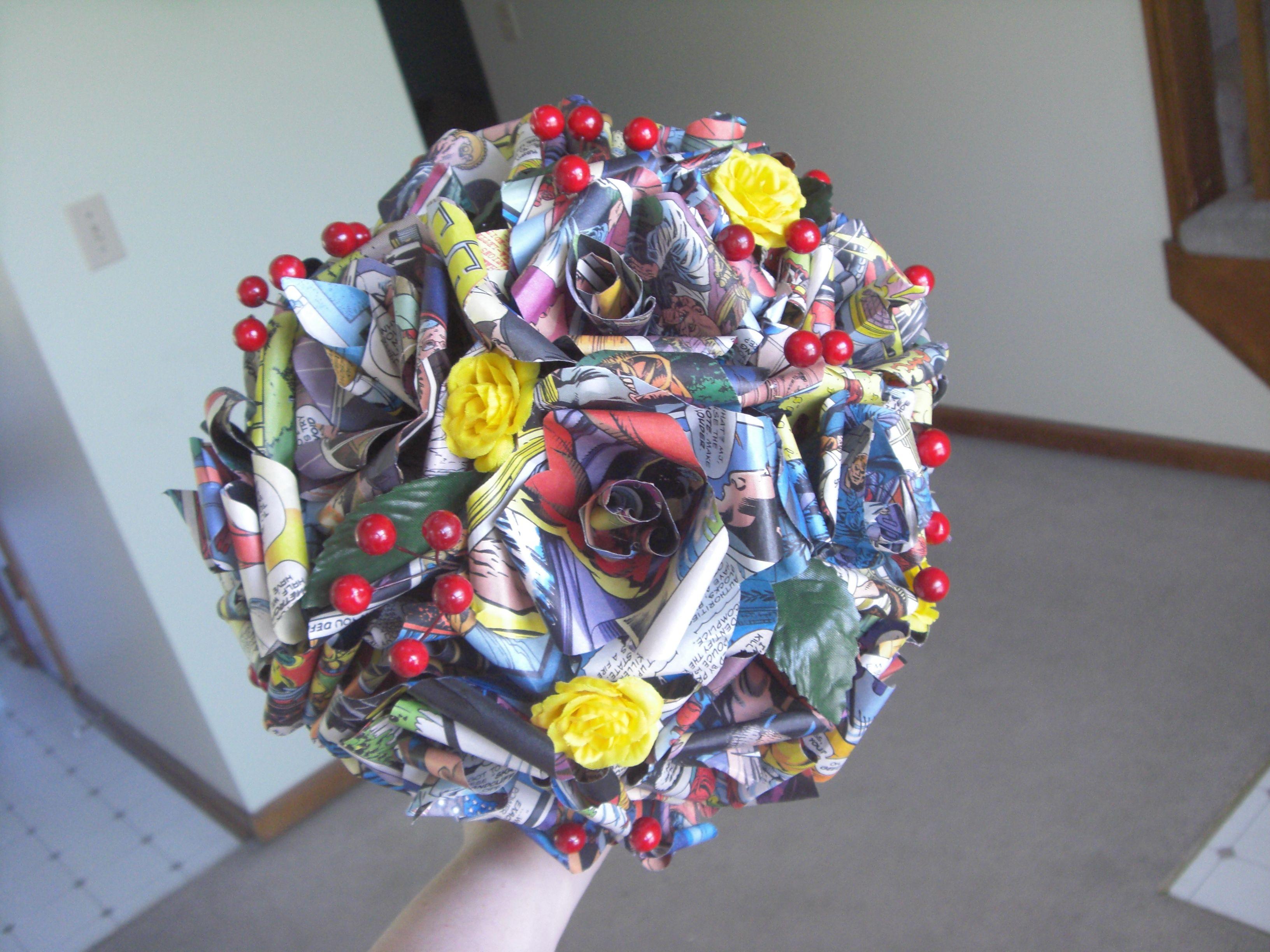 Comic Book Flower Bouquet Theme Superheroes Wedding Inspiration