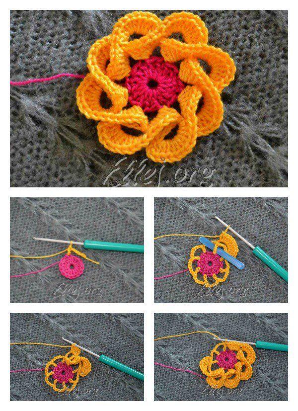 How to Crochet 3D Flowers with Multi Petals | Blumen häkeln, Häkeln ...