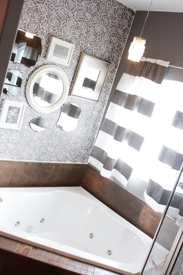 House Tour Master Bath: Master Bathroom Stenciled Wall With Mirrors