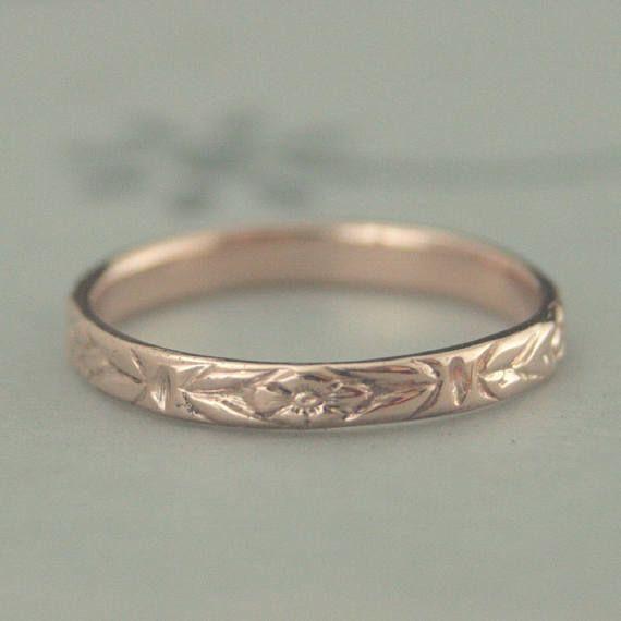 Rose Gold Wedding Bandrose Gold Women S Band10k Gold Etsy Wedding Rings Rose Gold Wedding Rings For Women Rose Engagement Ring Vintage