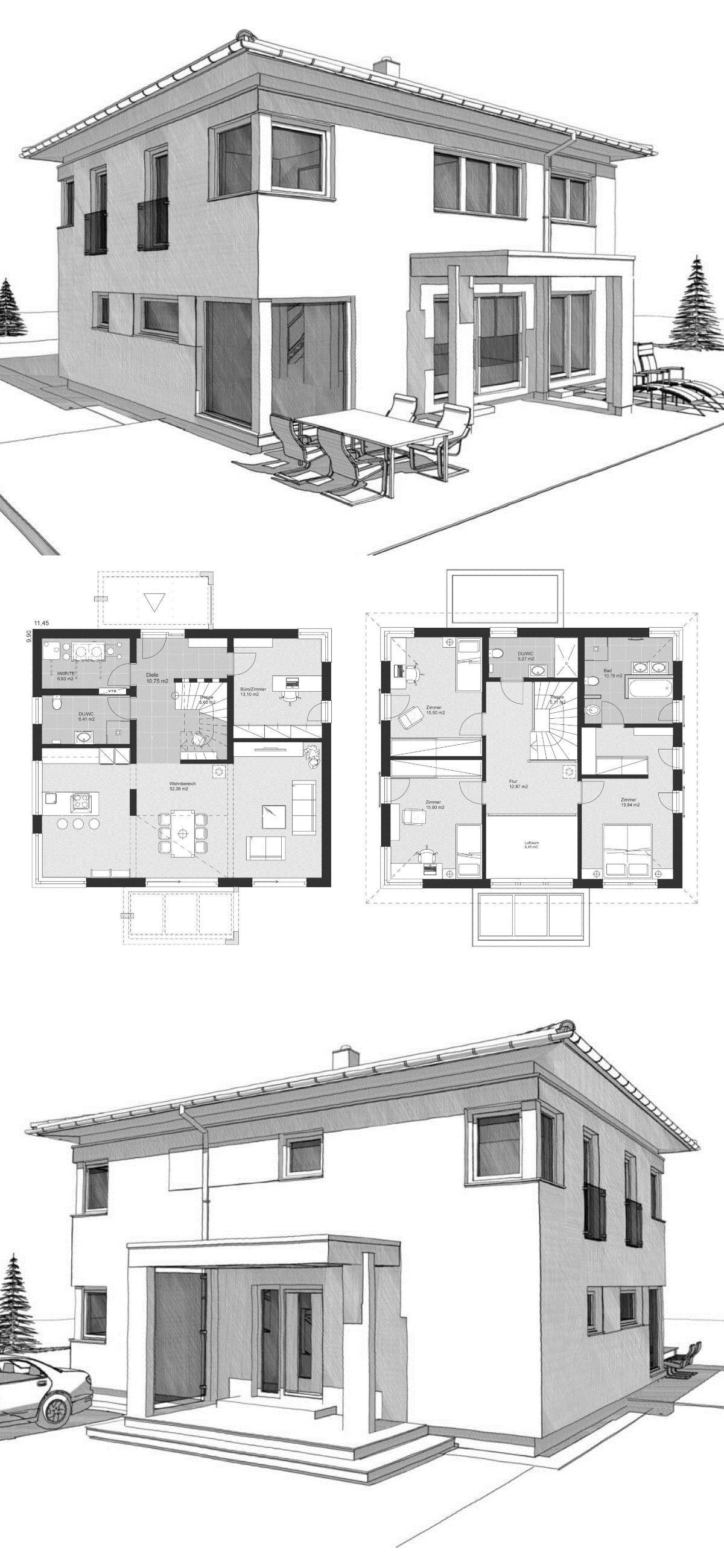 Stadtvilla neubau modern grundriss mit walmdach for Einfamilienhaus modern grundriss