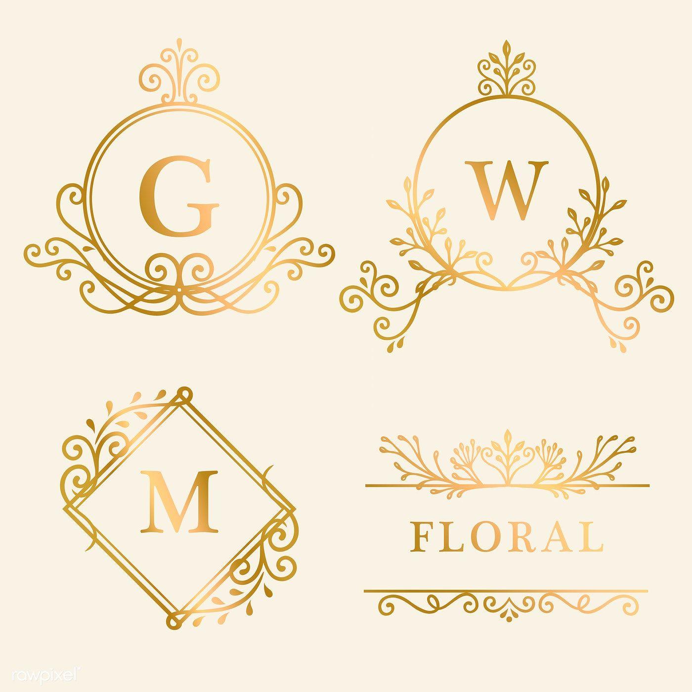 Set of golden framed vintage logo vector free image by