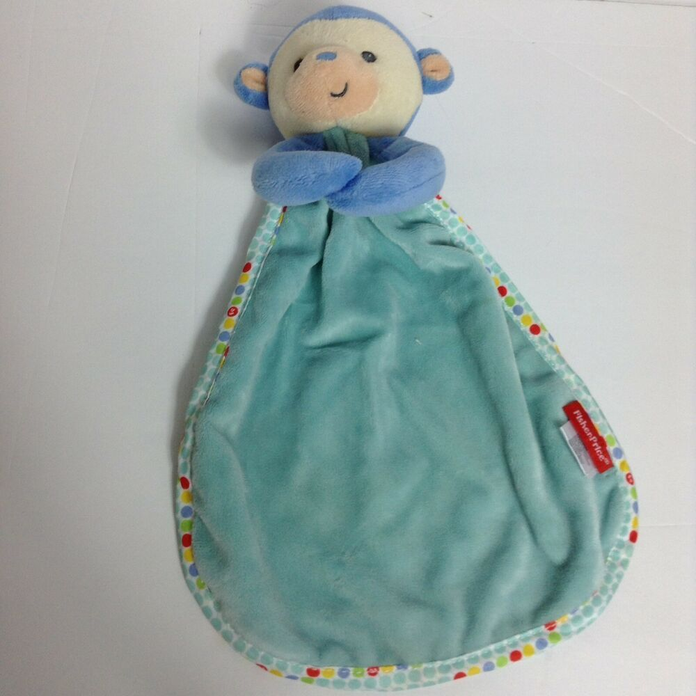 Fisher Price Lovey Security Blanket Plush Rattle Blue Monkey Red Yellow Dots #FisherPrice #securityblankets Fisher Price Lovey Security Blanket Plush Rattle Blue Monkey Red Yellow Dots #FisherPrice #securityblankets