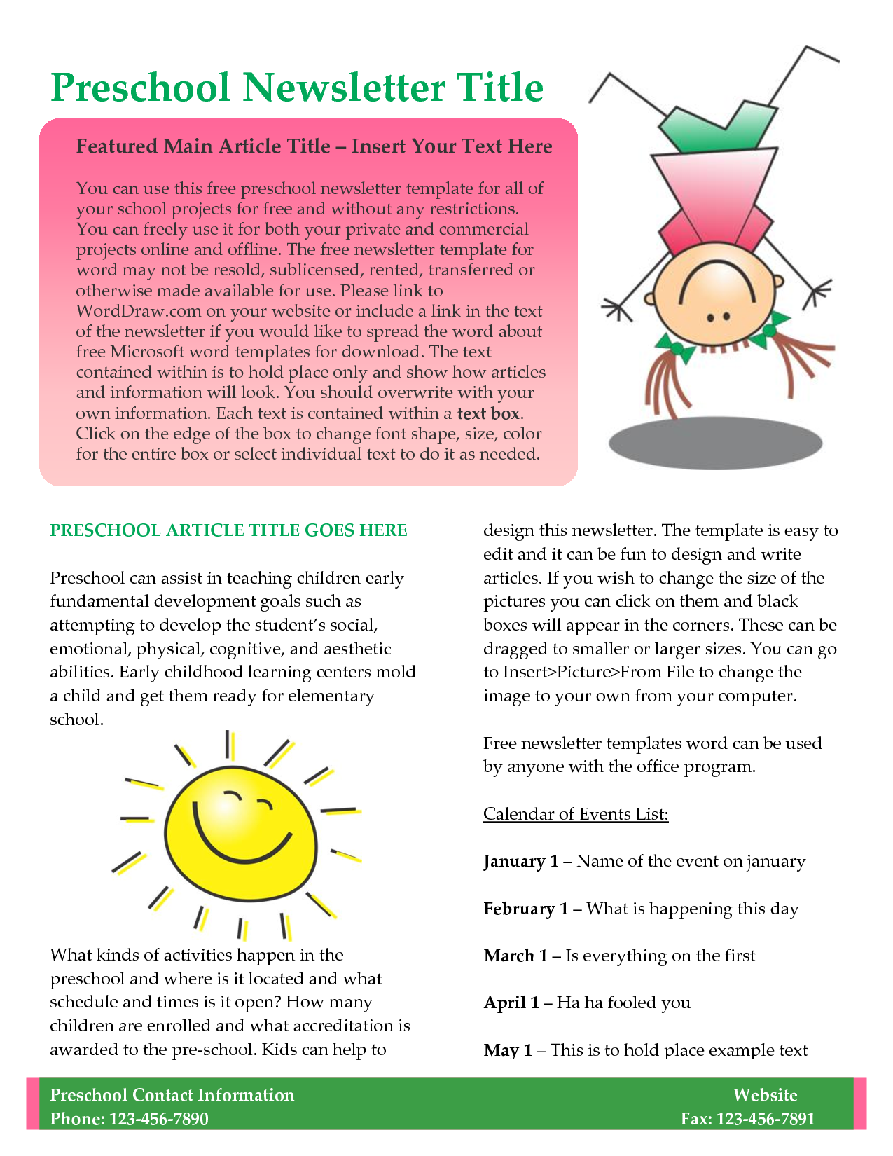 Preschool newsletter template newsletter templates for for Childcare newsletter templates