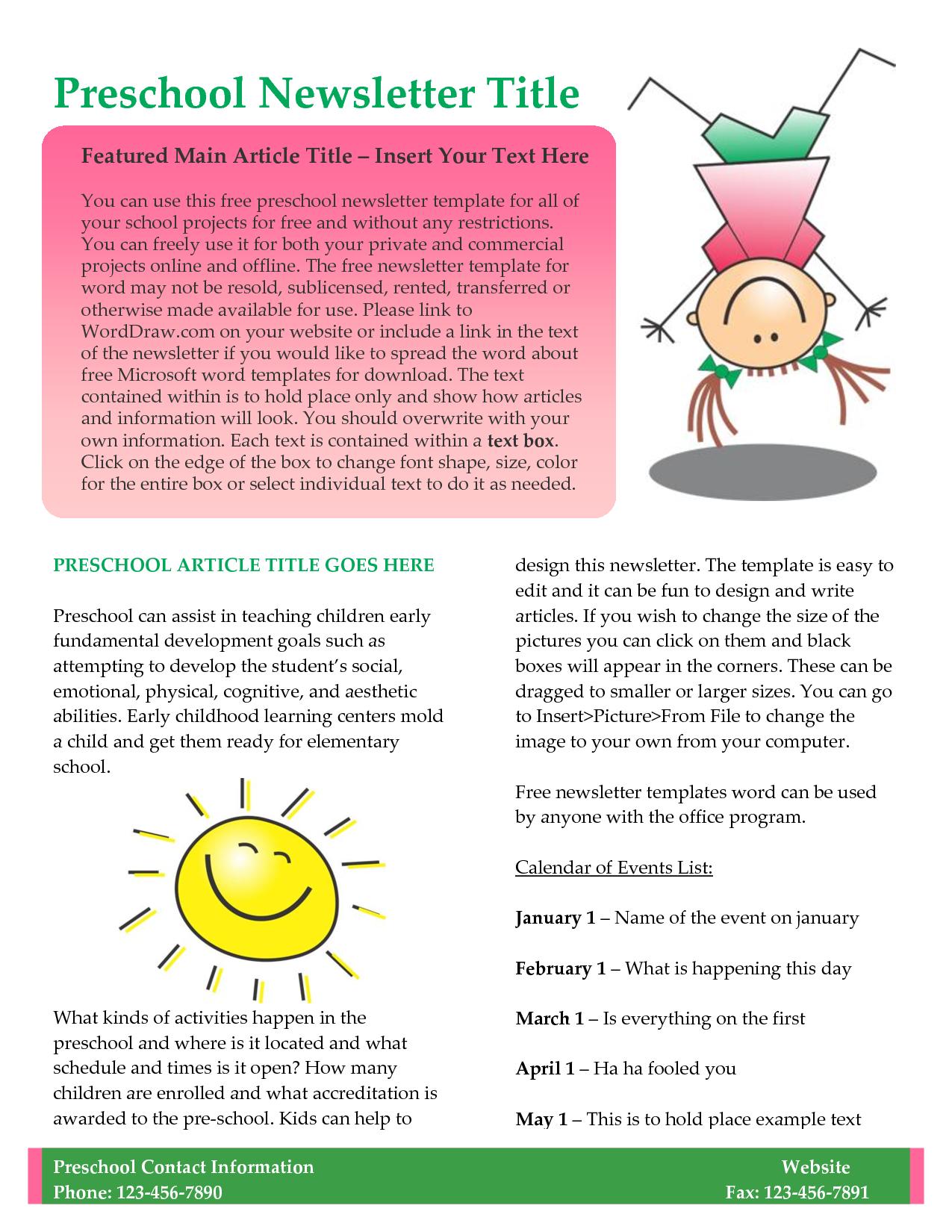 Preschool Newsletter Template  Newsletter Templates For Teachers