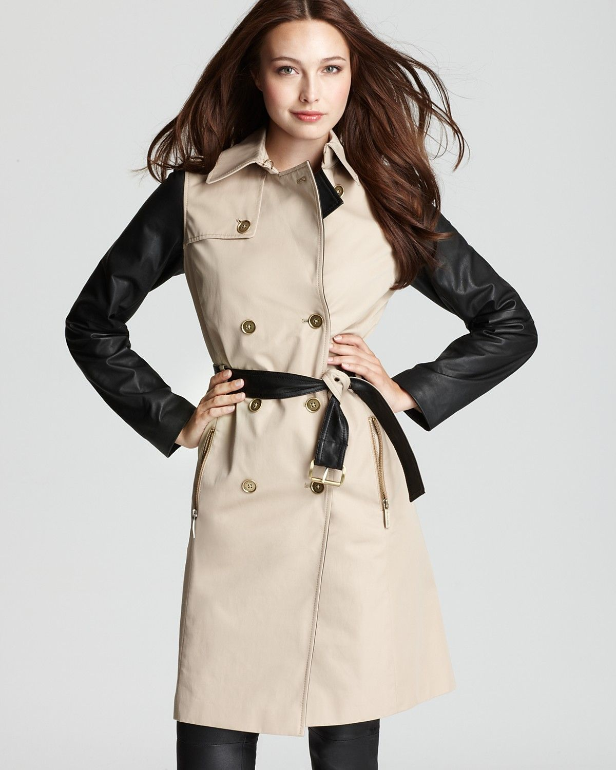 2019 factory price top-rated newest super cheap MICHAEL Michael Kors Leather Sleeve Trench Coat ...