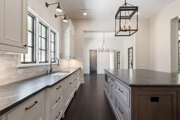 Stunning Brown Kitchen Island Is Perfectly Complemented With A Black Leathered Granite Leather Granite Replacing Kitchen Countertops Black Granite Countertops