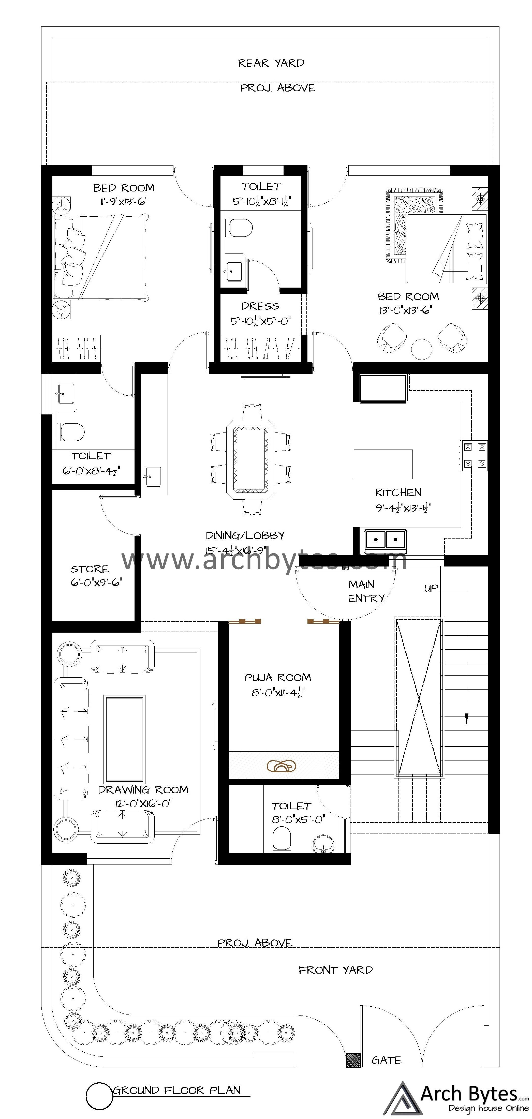 House Plan For 33x75 Feet Plot Size 275 Sq Yards Gaj House Plans Indian House Plans Floor Layout