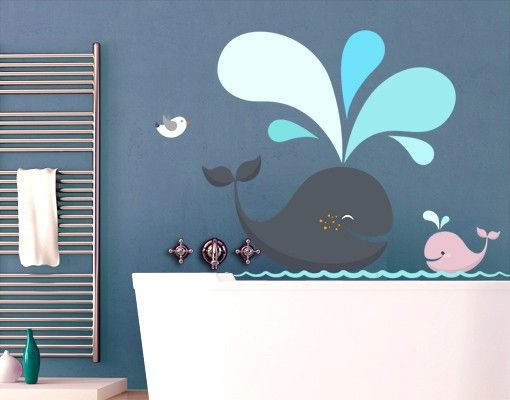Wandtattoo Fische No Ek146 Happy Whales Kinderzimmer Tapete
