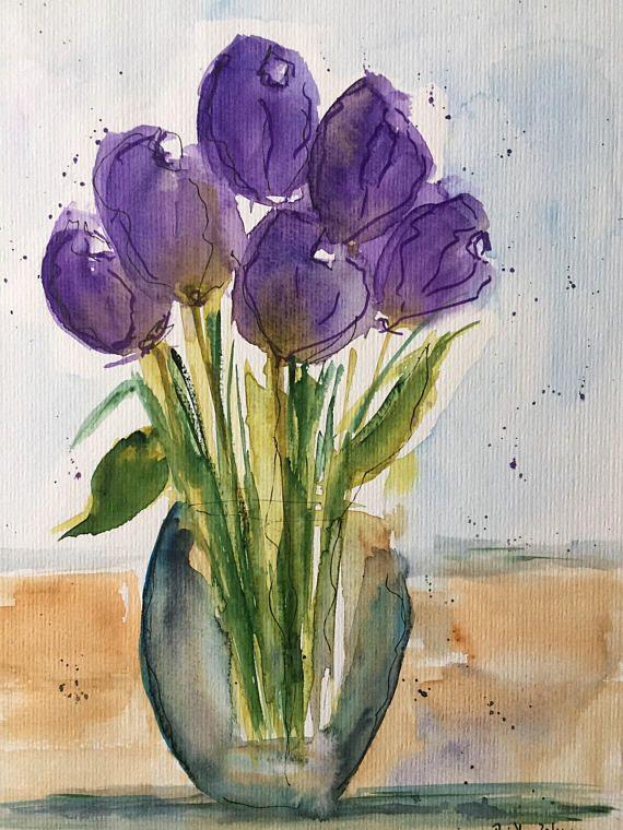 Original Aquarell Aquarellmalerei Tulpen Blumen Bild Kunst Art